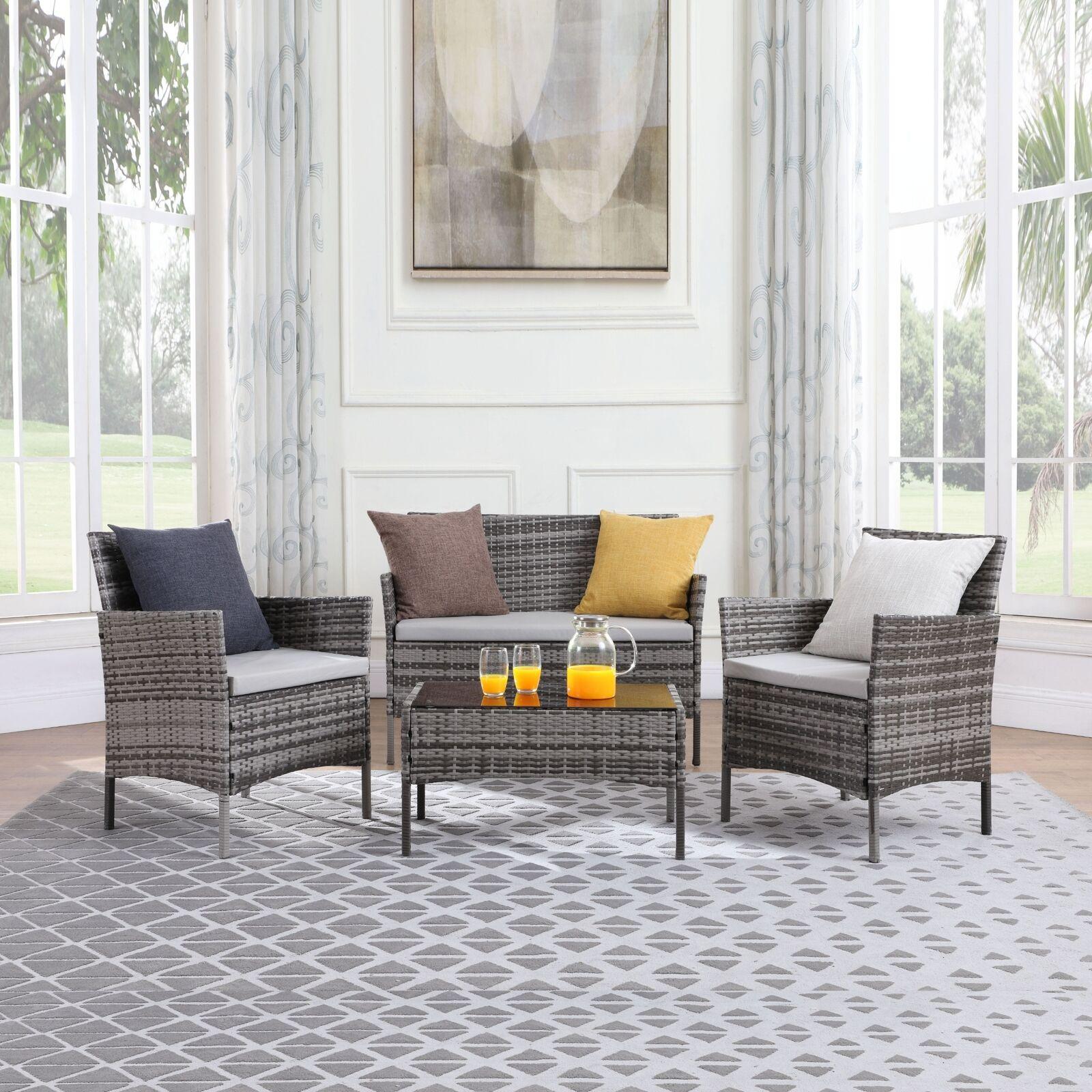 Garden Furniture - RATTAN GARDEN FURNITURE SET 4 PIECE SOFA CHAIRS TABLE OUTDOOR PATIO CONSERVATORY