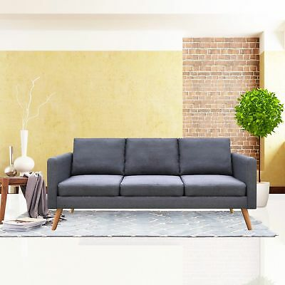 Linen Fabric Family Sofa 3 Seat Living Room Couch Furniture With Cushion Gray