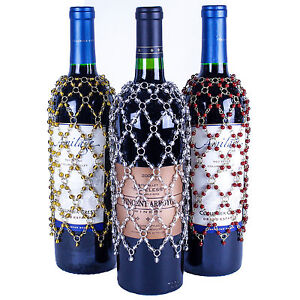 SET OF 3 BEADED WINE BOTTLE COVERS Gold, Silver, Burgundy Red, Save 15%