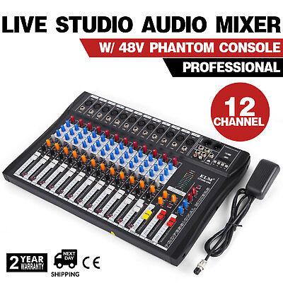 120S-USB 12 Channel Live Studio Audio Mixer Mixing Console Phantom Power X7W8