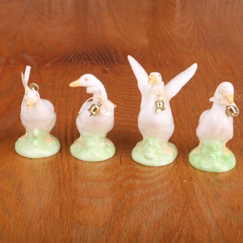 4 Porcelain Goose Geese Figurines Knick Knack