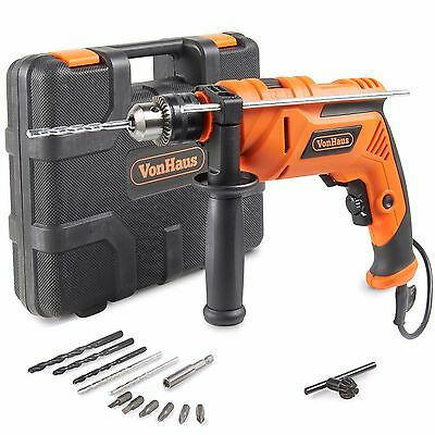 VonHaus 810W Rotary Hammer Impact Drill Auxiliary Handle 13mm 13pc Bits Set