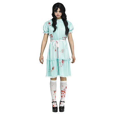 Adult Womens Twin Creepy Sister Grady Ghost Shining Halloween Costume Blue Dress