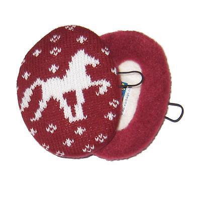 Earbags Helm gestricktes Pferd Weinrot Mütze Stirnband war gestern Schützer Reit