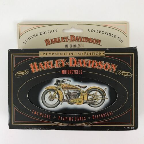 Harley Davidson Limited Edition Collectible Tin and Playing Cards 1997 Made USA