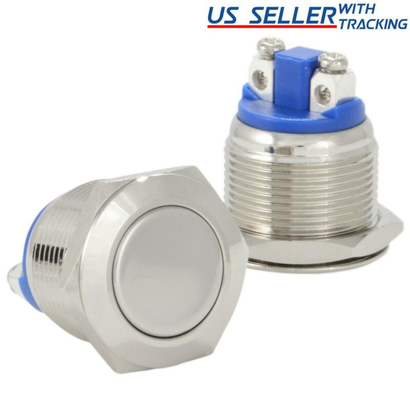 19mm Boat Horn / Starter Switch Circular Metal Momentary Push Button Waterproof