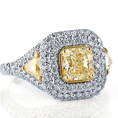 GIA 2.45 Ct VVS2 Yellow Radiant Cut Trillion Diamond Engagement Ring 18k Gold