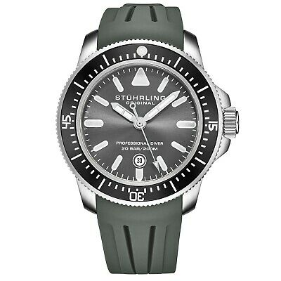 Stuhrling Men's Maritimer Quartz Grey Dial Grey Rubber Strap Divers Watch