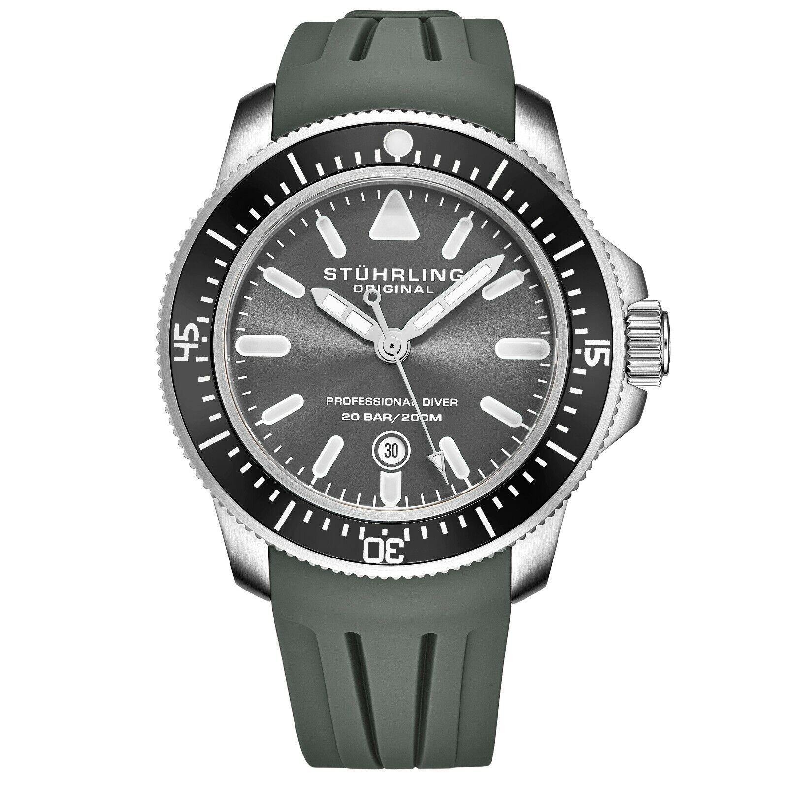 Stuhrling Herren Maritimer Quarz Gaue Ziffern Graues Kautschukband Taucher Uhr