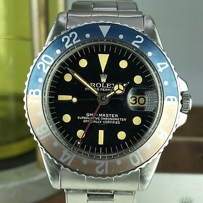 1963 Vintage Rolex GMT Master 1675 Gilt Radial Underline Swiss Only Dial PCG