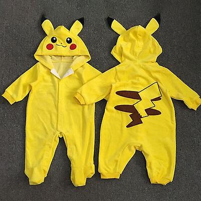 Neugeborenes Baby Jungen Pikachu Strampler Overall Bodysuit Kleidung Outfit Neu