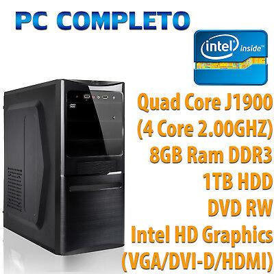 ORDINATEUR DE BUREAU ASSEMBLÉ COMPLET INTEL QUAD CORE 8GB HDD 1TB DVDRW