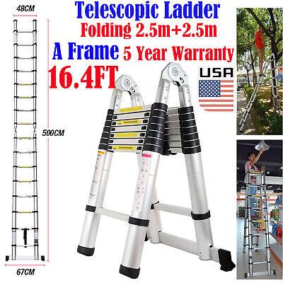 16.4ft Multi-purpose Aluminum Folding Telescopic Telescoping Extension Ladder Us