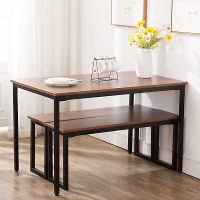 - 3 Piece Wooden Dining Table Set With Benches Chair Kitchen Furniture Rectangular
