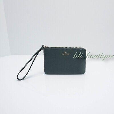 NWT New Coach F58032 Corner Zip Wristlet Wallet Crossgrain Leather Evergreen $78