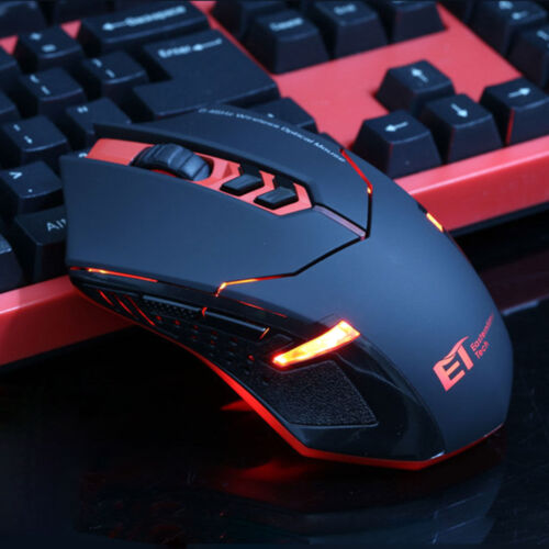 Red ETX-08 2000 DPI Adjustable 2.4GHz Wireless LED Gaming Mo