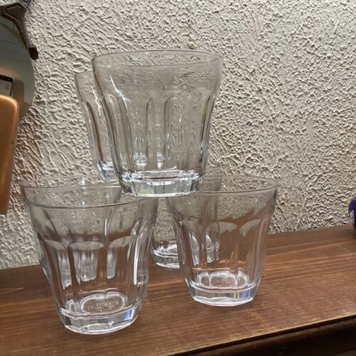 Set of 6 Palaks Rocks  Tumblers Glasses 10 Panel Tapered Clear Glass