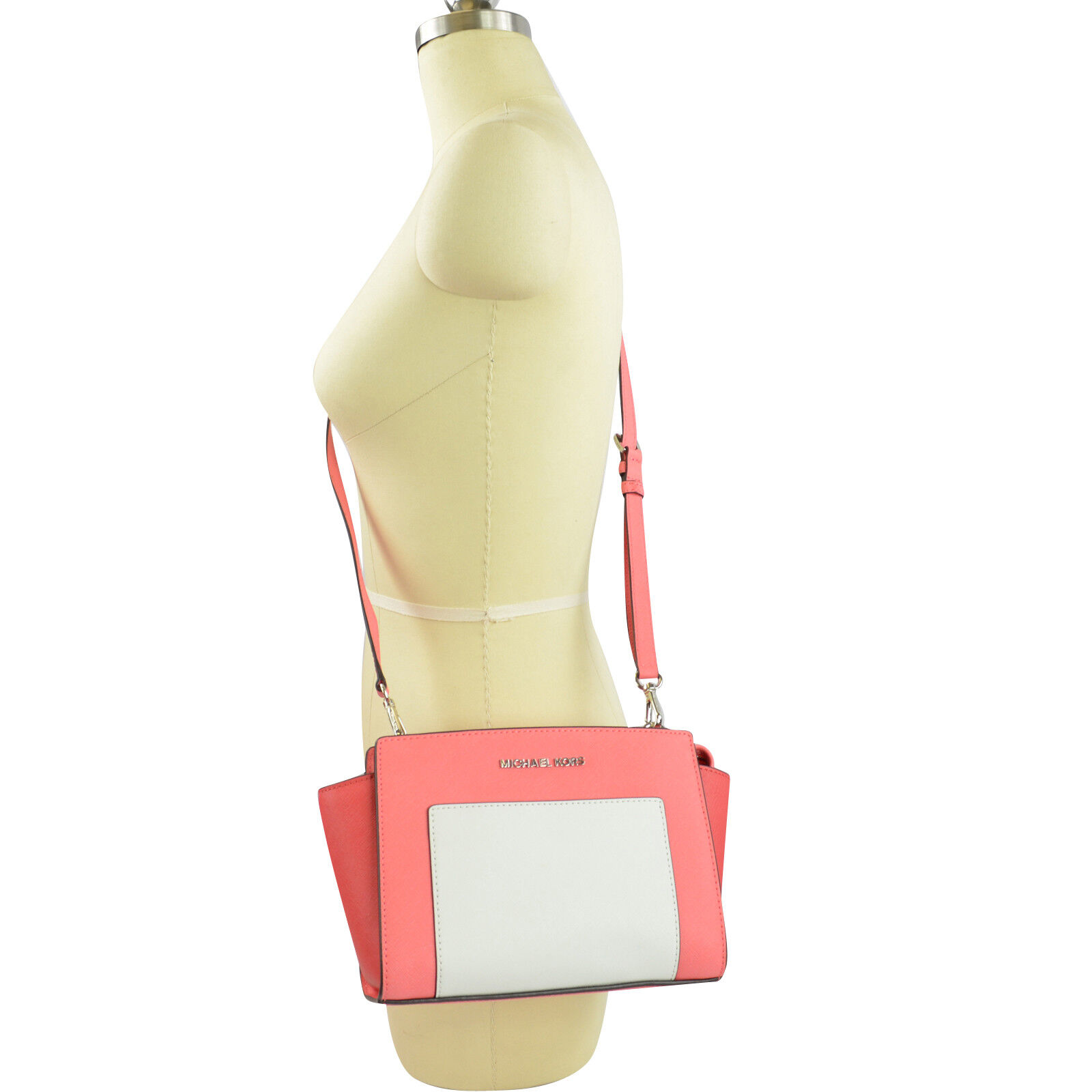68e08d4058ba Details about Michael Kors Selma Pocket Saffiano Leather Messenger Coral  Watermelon White
