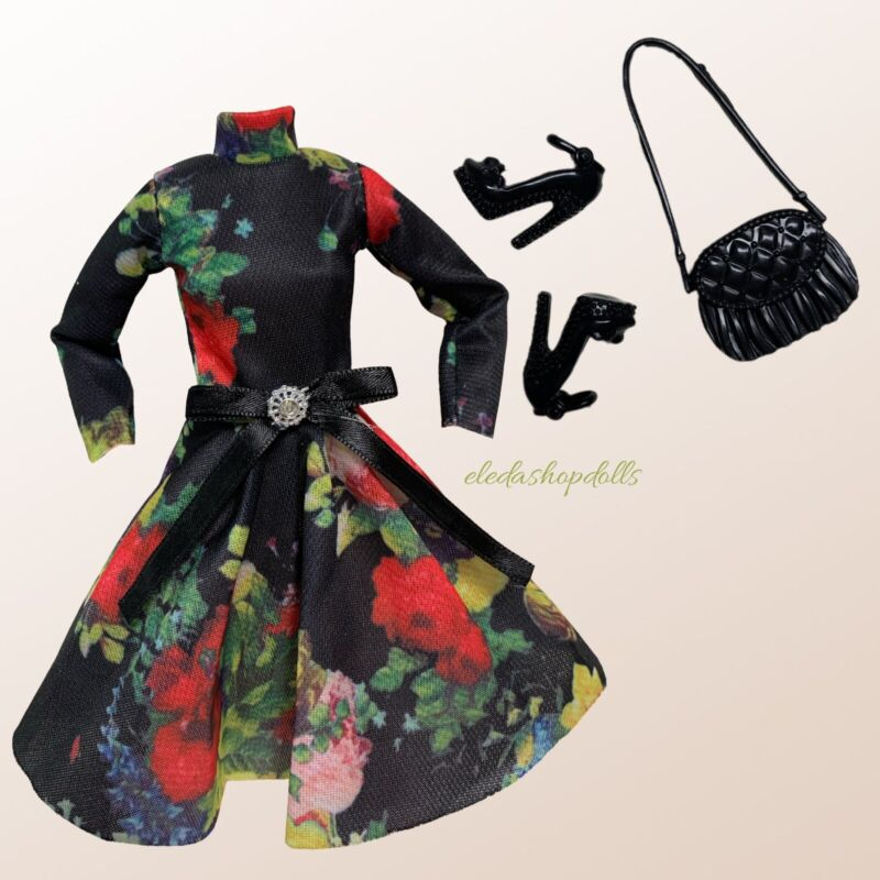 Barbie Doll Clothes Lot Vintage Floral Black Dress Fashion Pack By Eledoll