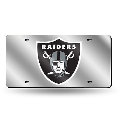 Oakland Raiders NFL Mirrored Laser Cut License Plate Laser -