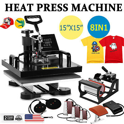 8in1 15x15 Combo T-shirt Heat Press Transfer Machine Sublimation Swing Away Us