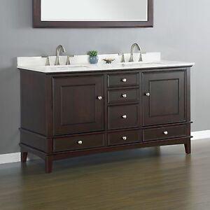 Quartz 60 Bathroom Vanity Cabinet Double Sink Basin Hardwood Top Quality Quartz