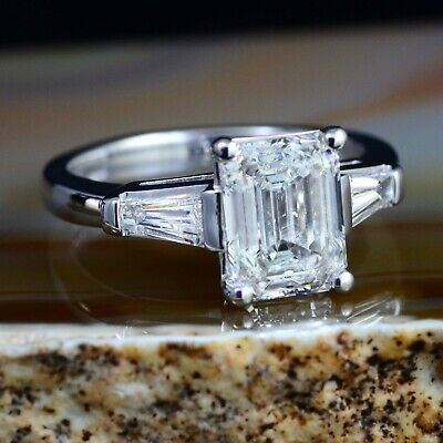 2.80 Ct Emerald Cut Diamond 3-Stone Engagement Ring w/ Baguettes K,VS2 GIA Plat