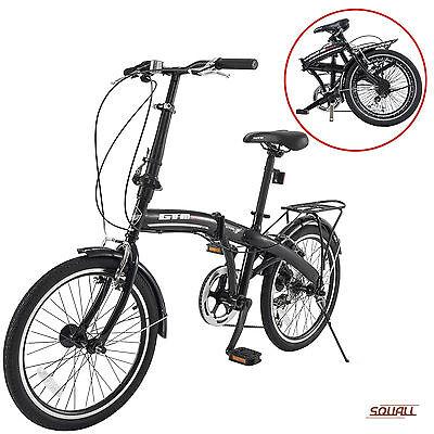 "20"" Folding Bike 6 Speed Black Bicycle Foldable Storage Shimano School Sports"