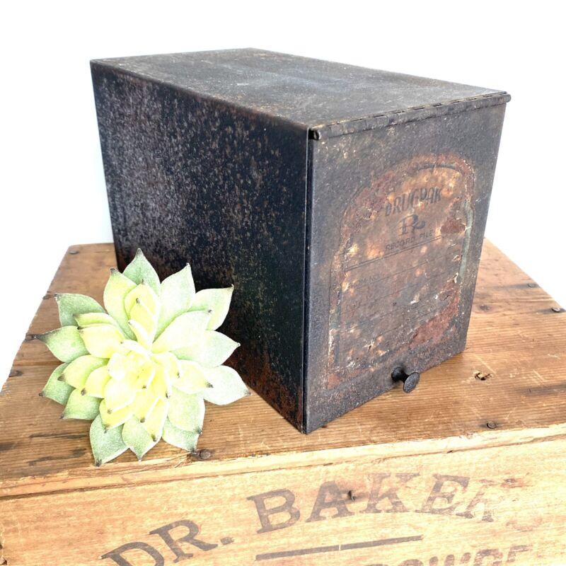 Vintage Apothecary RX Drug PAC Prescription Record File Metal Box Great Patina