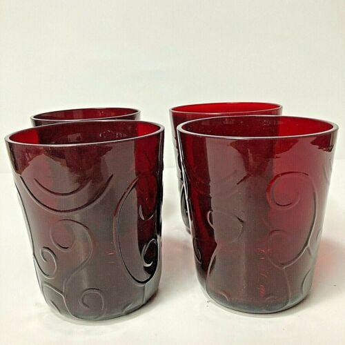 Ruby Red Heavy Glass Drink Tumblers w/ Elaborate Swirl Pattern Lot 4 Vintage
