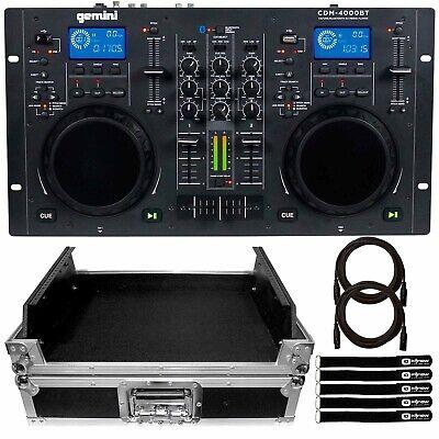 Gemini CDM-4000BT CD/MP3/USB DJ Media Player Mixer Controller w Silver Flight C