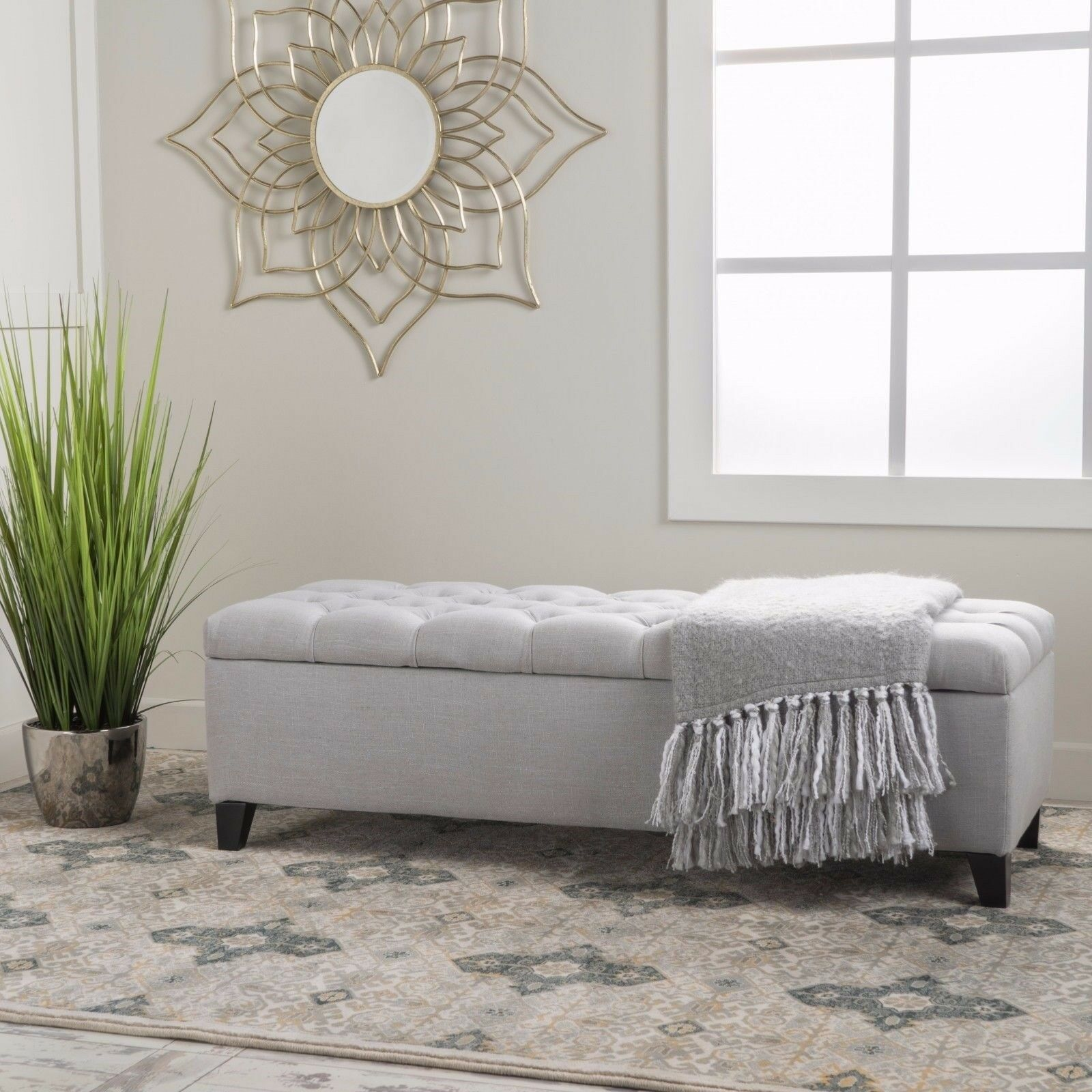Charleston Contemporary Button-Tufted Fabric Storage Ottoman