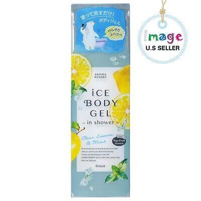 KRACIE AROMA RESORT Ice Body Gel in Shower Clear Lemon & Mint 200ML -U.S SELLER Cascade Gel Lemon Scent