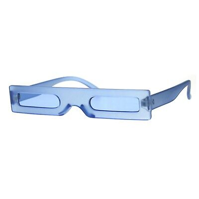 Frosted Frame - Super Skinny Futuristic Sunglasses Flat Rectangular Frame Unique Frost Colors