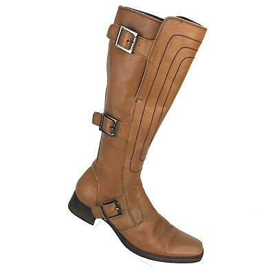 Nero Giardini Brown Leather Tall Boot Buckle Detail Womens Shoe SIZE 9.5 - 10 Detail Shoe Boot