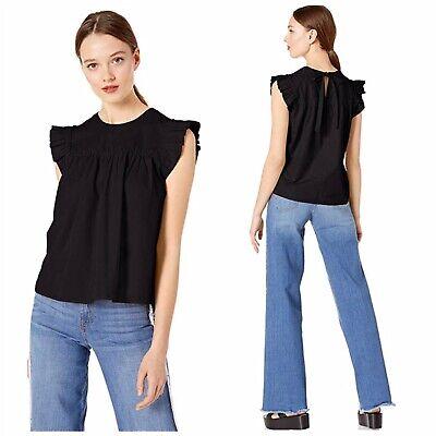 Ella Moss Women's Black Flutter Ruffle Sleeve Joan Crop Tie Back Woven Top XS Ella Moss Flutter Sleeve Top