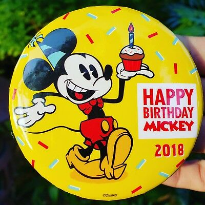 Walt Disney World Mickey Mouse 90th Happy Birthday Button 2018 New from Parks](Happy Birthday 90th)