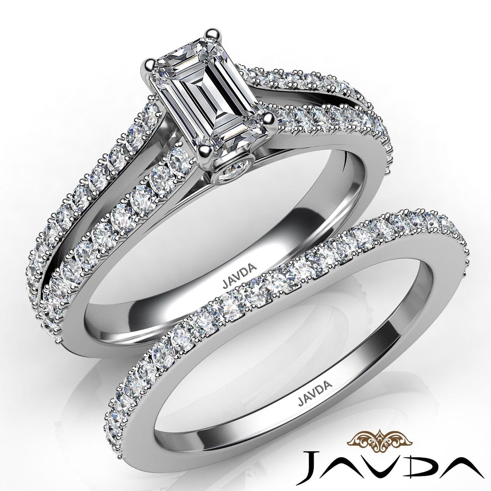 1.51ctw Split Shank Bezel Bridal Set Emerald Diamond Engagement Ring GIA E-VVS1