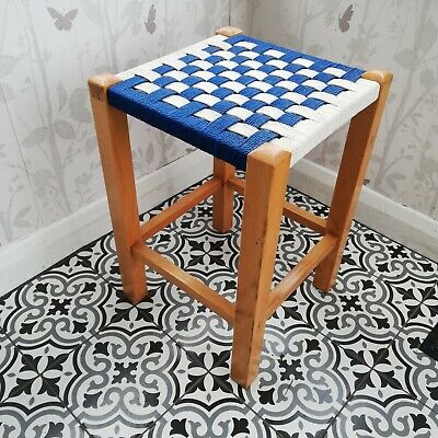 Stunning Vintage Stringtop wooden stool Retro Wicker plant stand display lovely