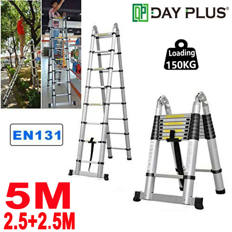 Heavy Duty 5M 16.4 FT Folding Collapsible Telescopic Extension Ladder Aluminum