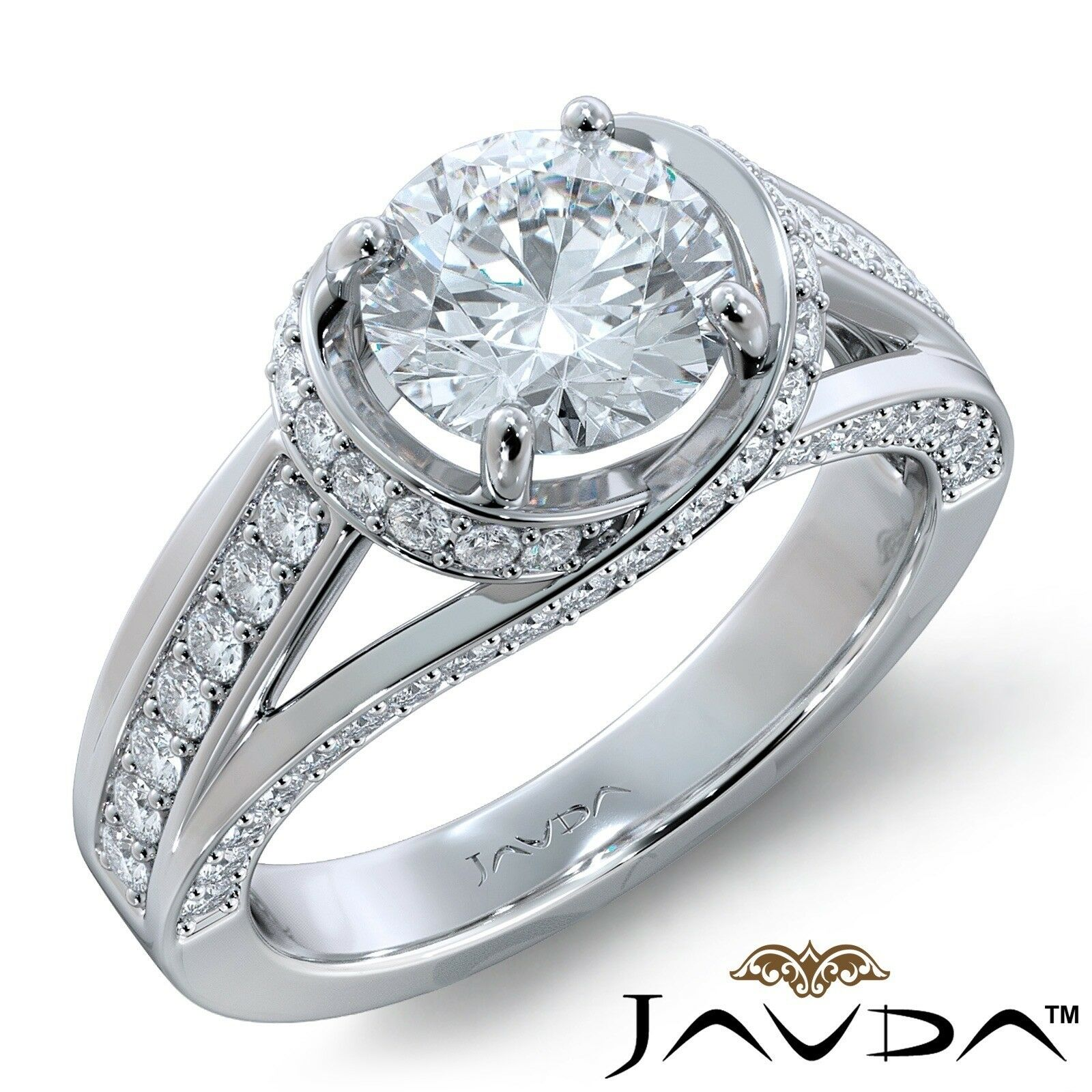 2.71ctw Knot Classic Sidestone Round Diamond Engagement Ring GIA F-VVS1 W Gold