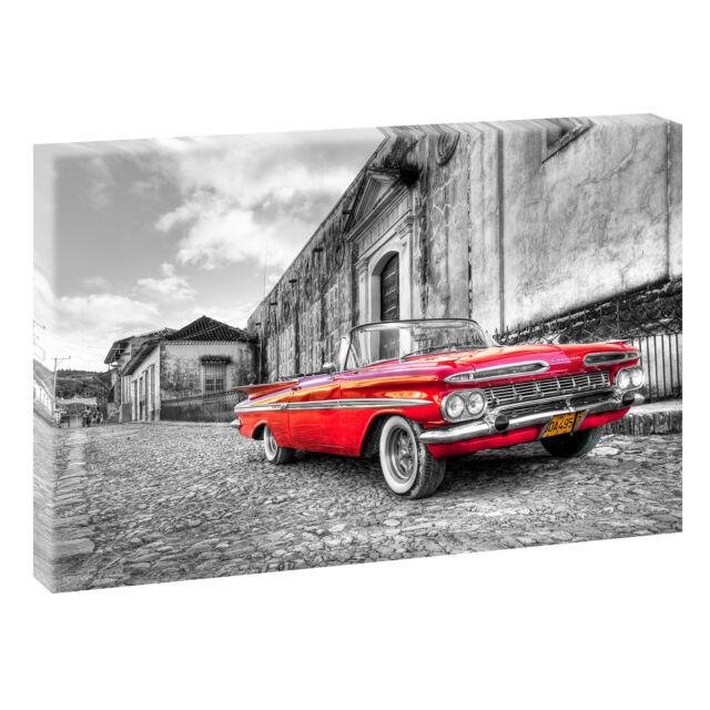 Chevrolet sw/ rot - Bild auf Leinwand Keilrahmen Poster XXL 120 cm*80 cm 015