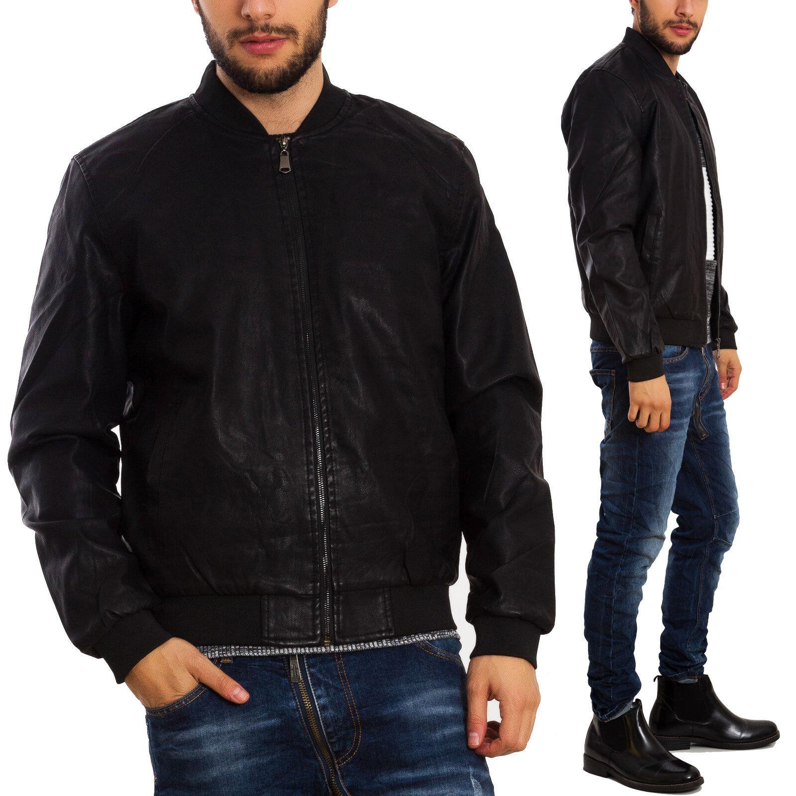quality design e31c1 af2ca Dettagli su Giubbotto uomo giubbino giacca eco pelle polsini ecopelle  imbottito A-12