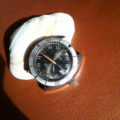Vintage Waltham Diver w/Mint Dial,Warm Patina,Signed Crown,All SS Case,FHF 90-5