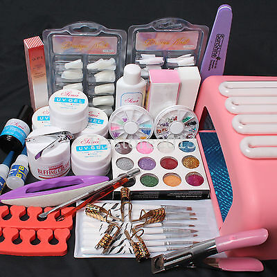 Gel Nails Acrylic Nails - Nail Art Kit UV Builder Acrylic Gel 36W Timer Dryer Lamp Full Tools Set US Stock