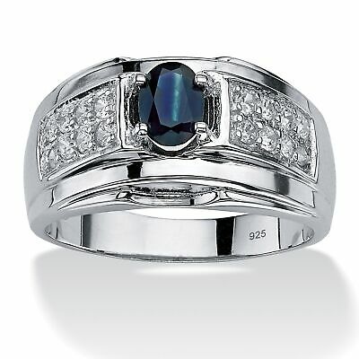 Men's 1 TCW Genuine Sapphire and CZ Ring in .925 Silver
