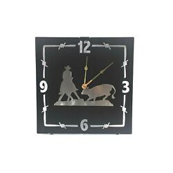 Rustic Western Cutting Horse Wall Clock Home Accent Decor Metal Lazart Ranch