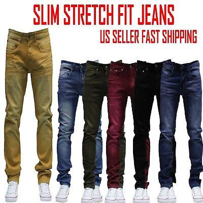 MEN Jeans Slim STRETCH FIT SLIM FIT Trousers Casual Pants SKINNY BLACK JEAN  ()