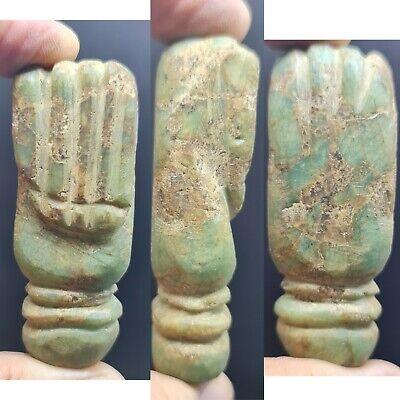 Ancient indo-greek jade stone holy hand amulet stone #147