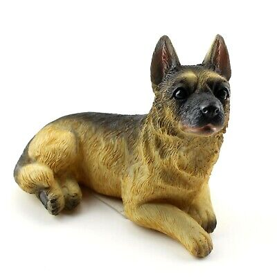 German Shepherd Dog Figurine Hand Painted Adorable Face Attentive Glance -